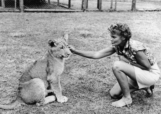 Joy Adamson with Elsa the  Lioness