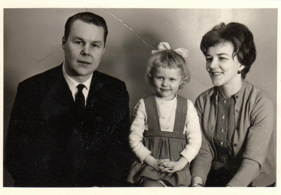 Dad, me and mom, migrating to the USA, 1964